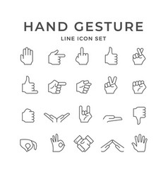 Set line icons hand gesture vector