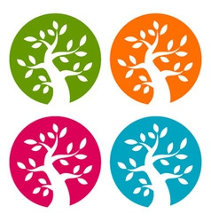 Set of Colorful Season Tree Bold icons vector image