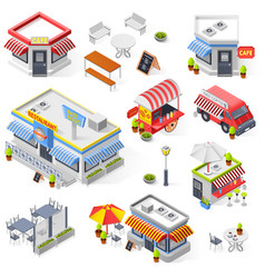 Set of street restaurant and cafe isometric icons vector