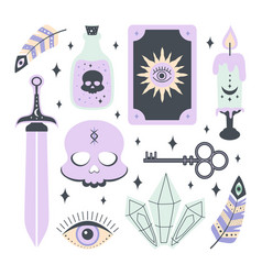 set with magic elements isolated on white vector image