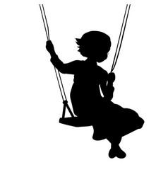 silhouette girl play swinging swing vector image
