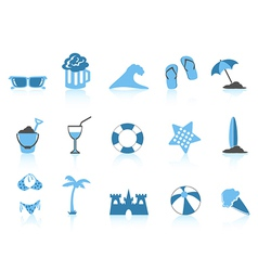 simple beach icon blue series vector image