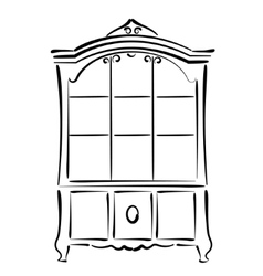 Sketched vintage bookcase isolated on white vector