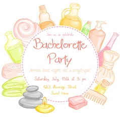 Spa party invitation with round text place vector