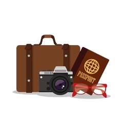 Suitcase and camera for travel design vector