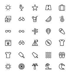 Summer and Beach Line Icons 1 vector