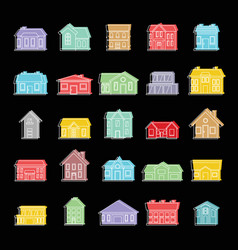 town house set doodle for vector image vector image