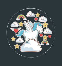 Unicorn magic fantasy with kawaii star cloud vector