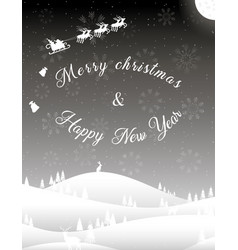 vertical black white christmas card winter forest vector image