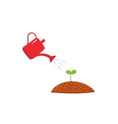 Watering growing seedling sprout gardening vector