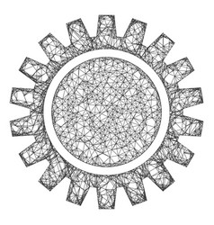 Web mesh cogwheel icon vector