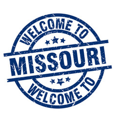 Welcome to missouri blue stamp vector