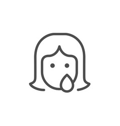 Woman abuse and discrimination line outline icon vector