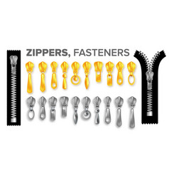 zipper set vctor gold and silver zippers pullers vector image