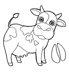 Cattle with paw print Coloring Page vector image
