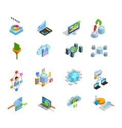 Data Analyses Elements Isometric Icons Set vector image vector image