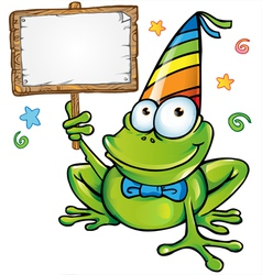 happy frog party with signboard vector image vector image