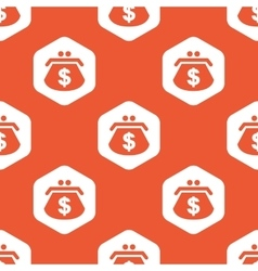 Orange hexagon dollar purse pattern vector image
