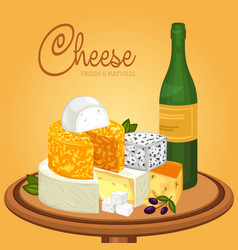 sliced cheese pieces on plate and bottle of wine vector image