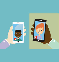 video conference with friends by smart phone vector image