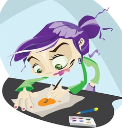 A funky cartoon hard at work painting vector image