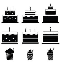 birthday cakes icon set vector image