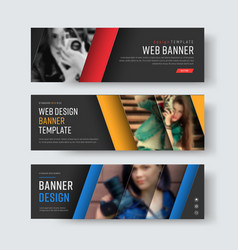 design of black banners with diagonal colored vector image vector image