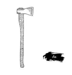 hand drawn sketch style ax vector image