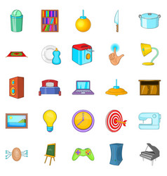 stick icons set cartoon style vector image vector image