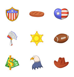 american dream icons set cartoon style vector image