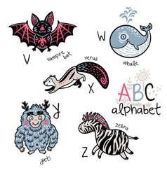 animals alphabet v - z for children vector image vector image