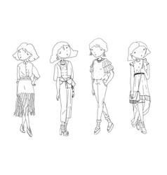 fashion girls set hand drawn creative vector image vector image