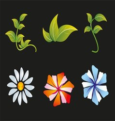 Flower and Leaf Icon Set vector image
