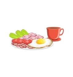 Fried Egg Bacon And Coffee Breakfast Food Drink vector image vector image