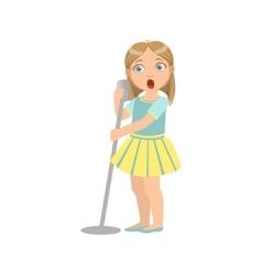 Girl In Yellow Skirt Singing In Karaoke vector image vector image