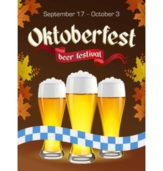 Oktoberfest vintage poster with beer and autumn vector image
