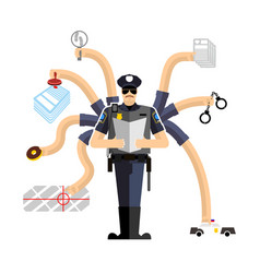 police work officer on duty detention of vector image vector image