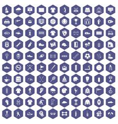 100 sport club icons hexagon purple vector