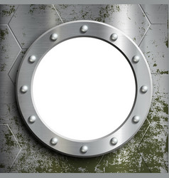metal porthole with rivets window on the a vector image vector image