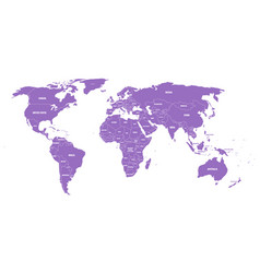 violet political world map with country borders vector image vector image