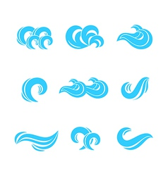 Wave icons set vector