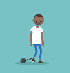 young exhausted black man wearing shackles sad vector image