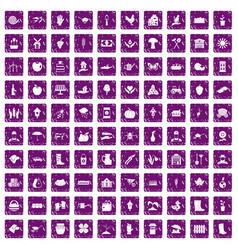 100 farm icons set grunge purple vector