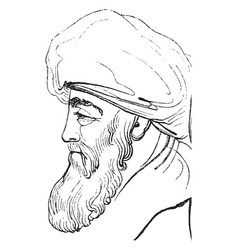 a man head looking vintage engraving vector image