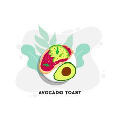 avocado toast sliced avocado on toast bread with vector image