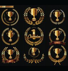 award design laurel wreaths collection vector image