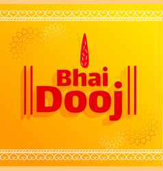 Bhai dooj tika celebration yellow background vector