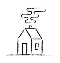 Black crayon house sketch vector image