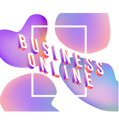 business online text isometric design - colorful vector image