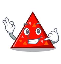 Call me triangel mascot cartoon style vector